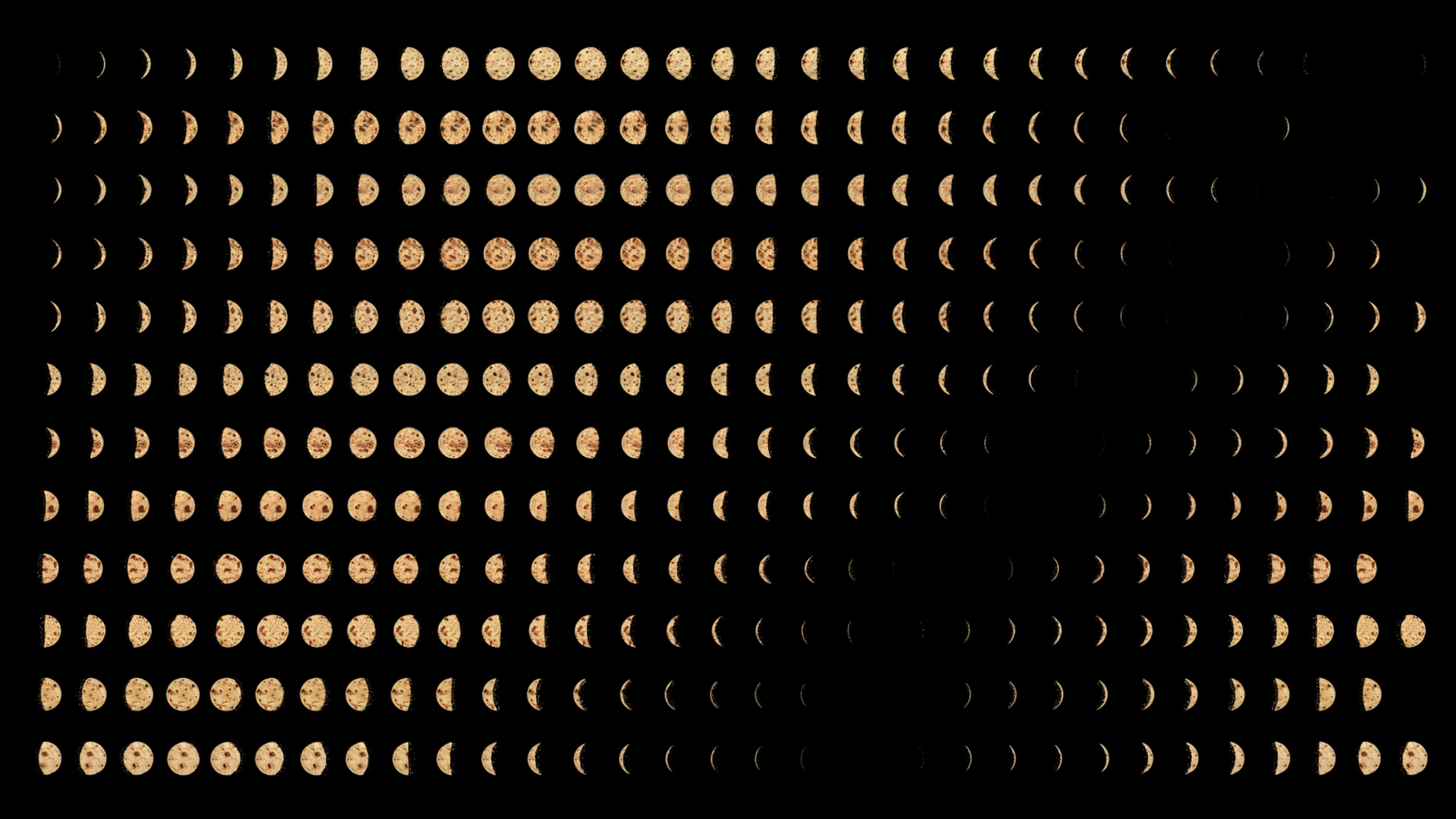 film still of rotis shaped like the phases of the moon against a black background