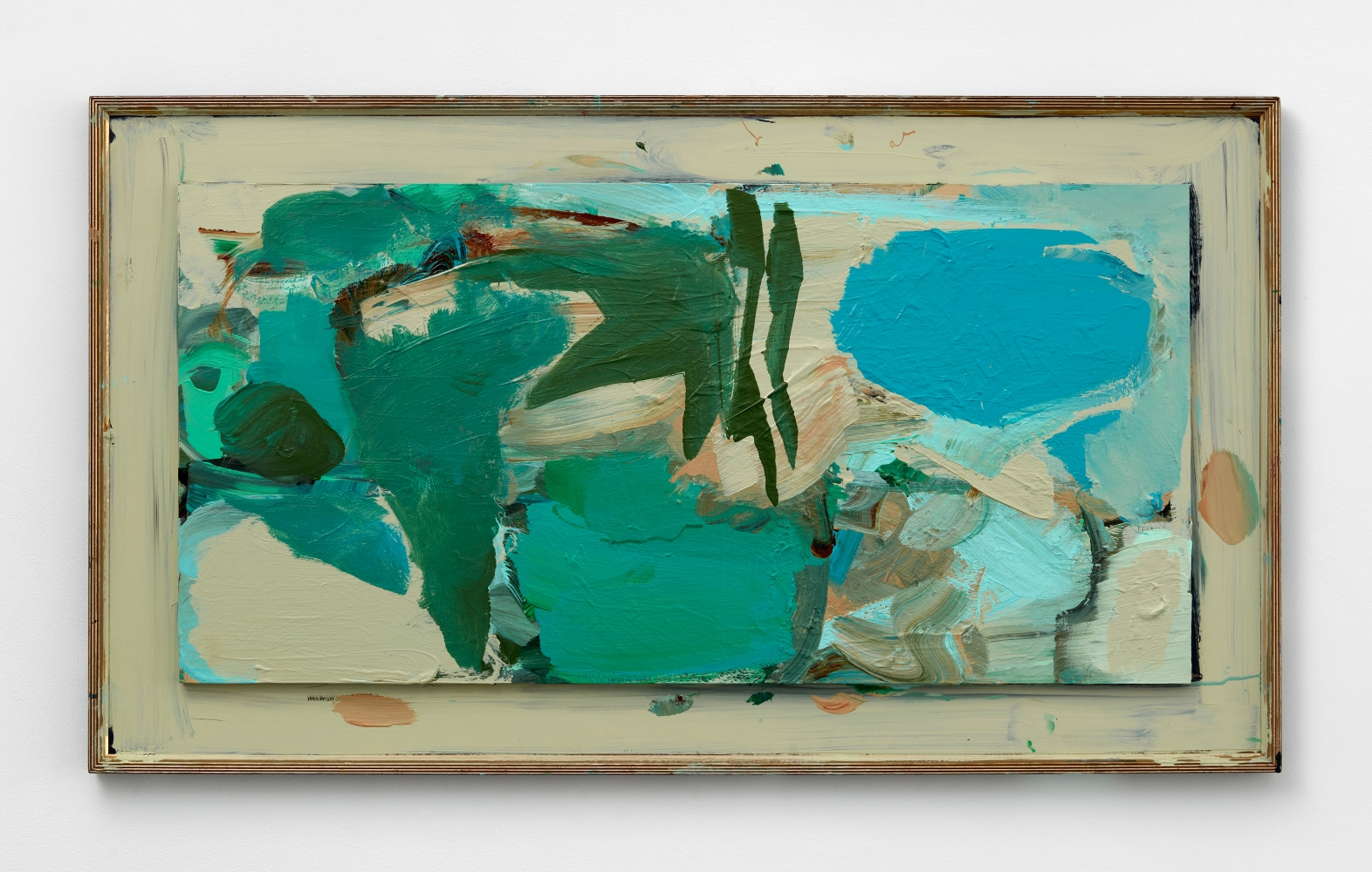 abstract painting in blues and greens