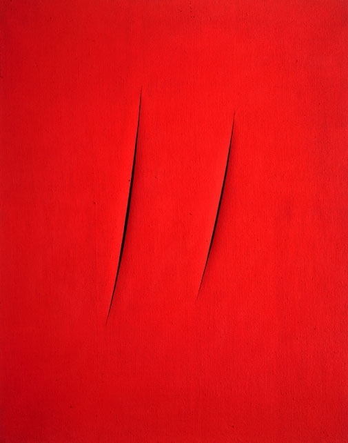 red canvas with two angled vertical slashes in the center