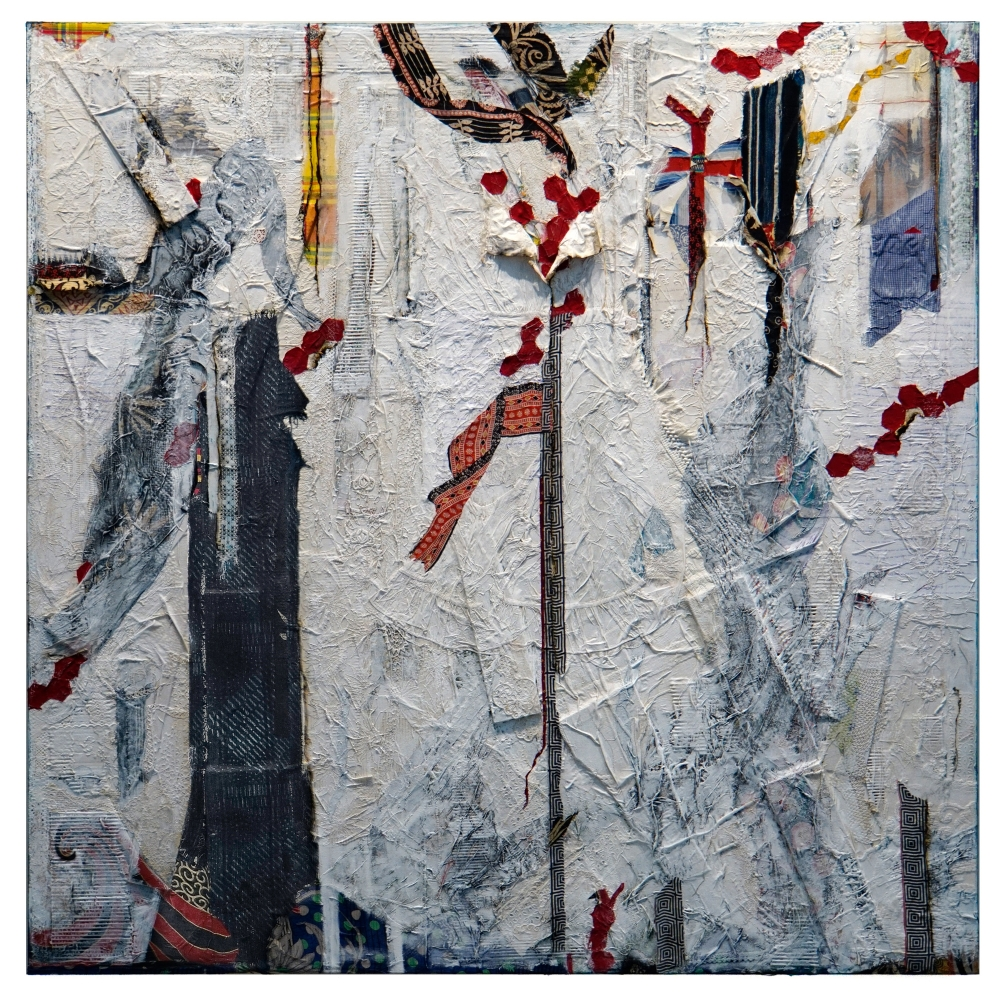 painted canvas collaged with strips of lace, shirting fabric and printed textiles