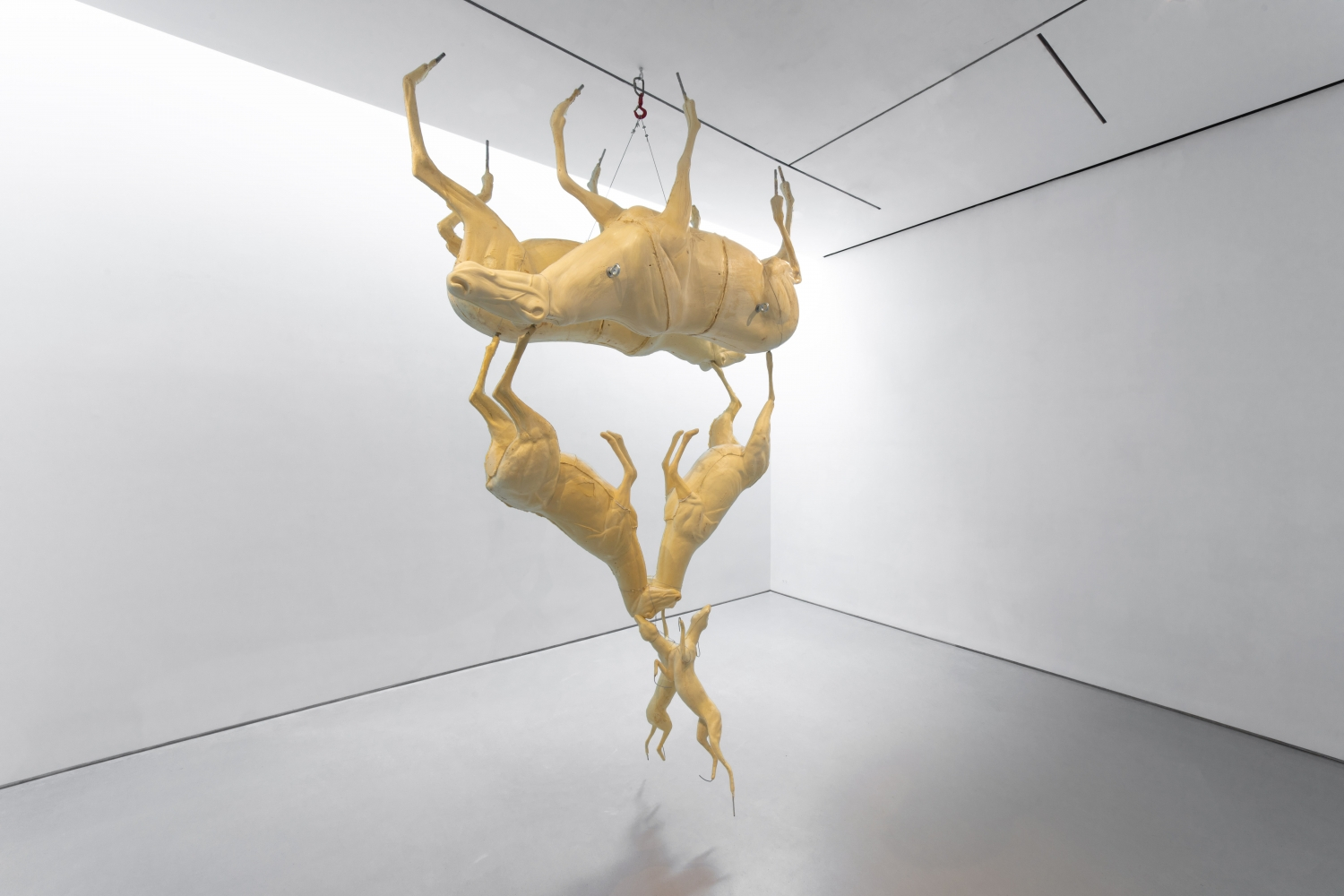 hanging sculpture composed of upside down taxidermy forms of caribou, deer and foxes