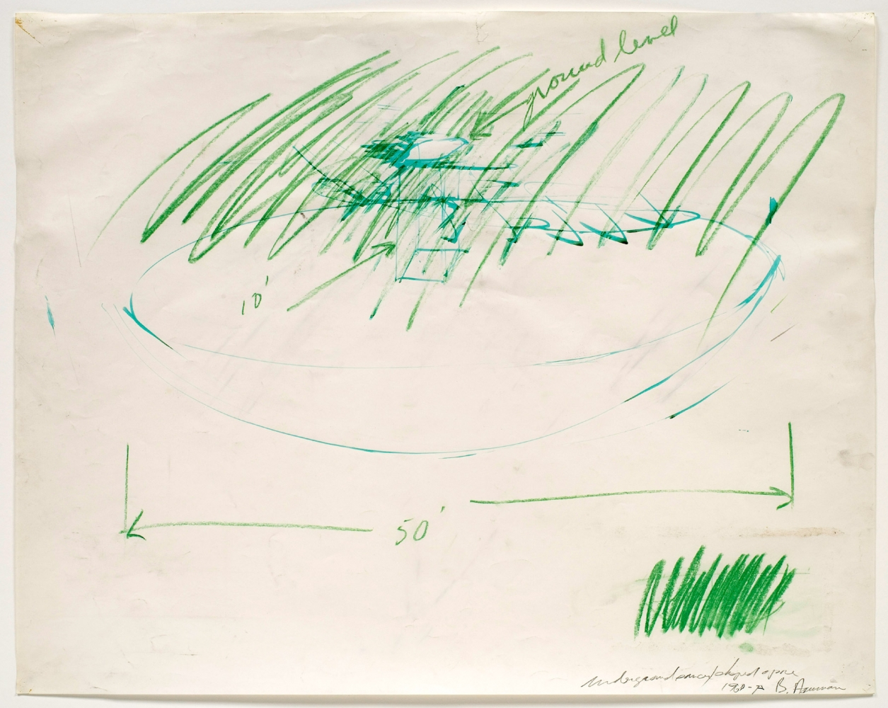 graphite and green pastel drawing of an installation plan with handwritten notes by the artist