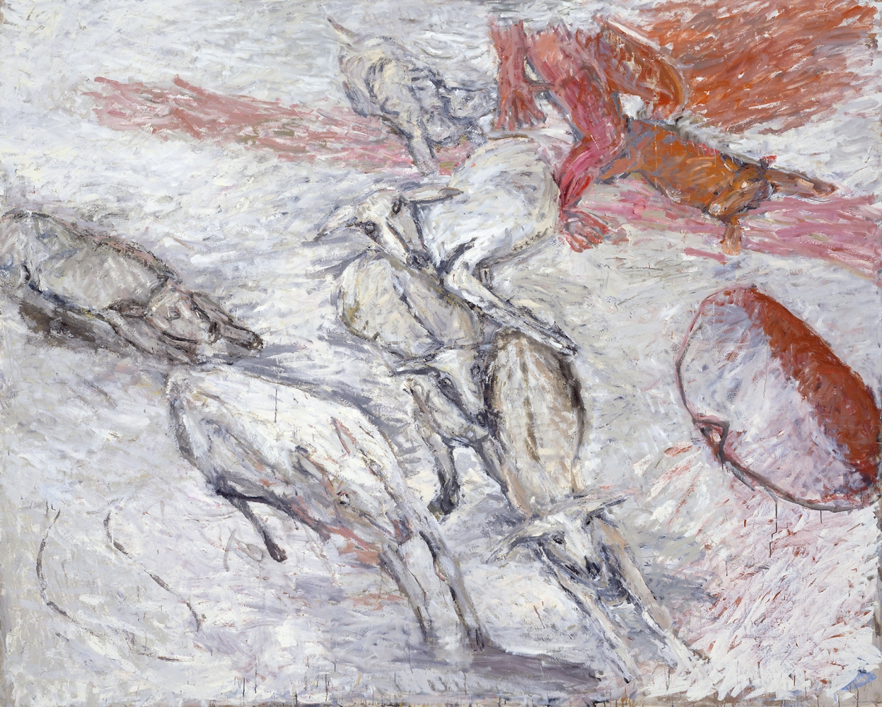 aerial view of five deer being chased by two dogs with two partial and abstracted human figures