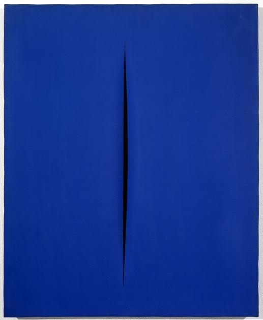 blue canvas with a single vertical slash in the center