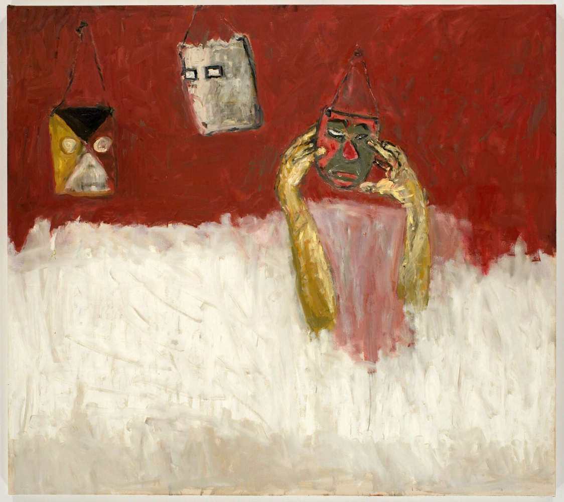 painting of three masks hanging from a red wall with two disembodied yellow hands emerging from a white ground to touch one of them