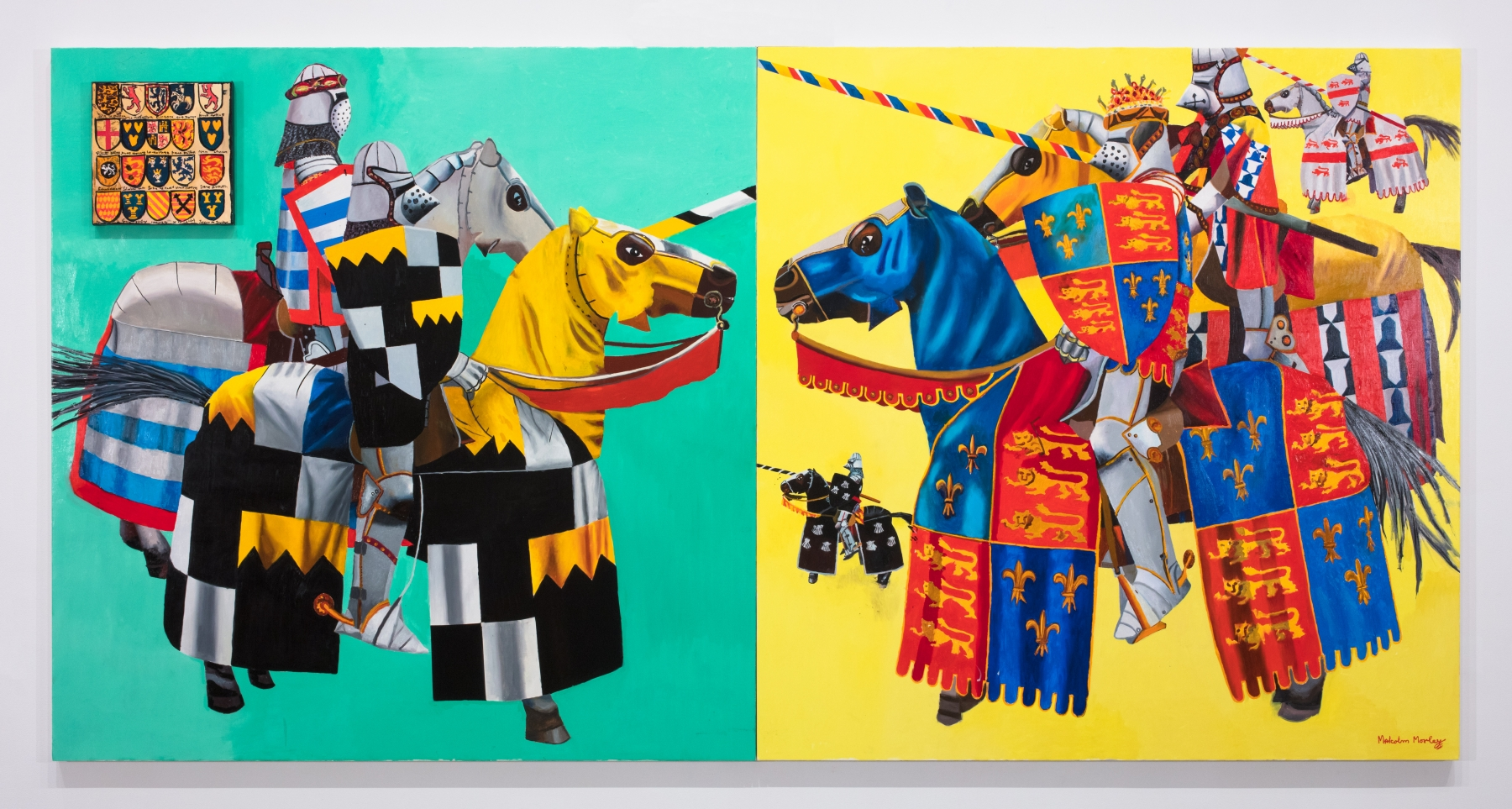 diptych of knights on horseback against teal and yellow backgrounds