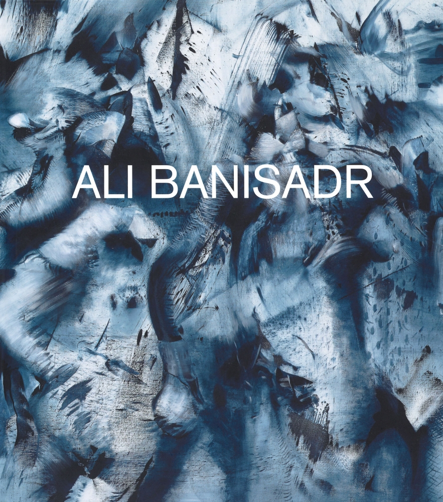 book cover featuring a detail of an abstract monochromatic blue Ali Banisadr painting
