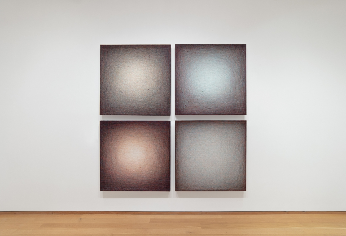 grid of four thread paintings