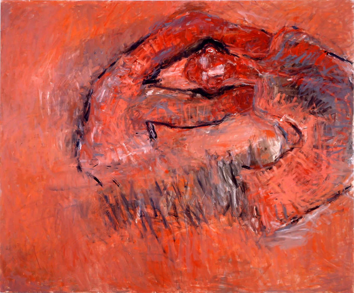 red-orange painting of an abstracted human figure contorted into a donut shape