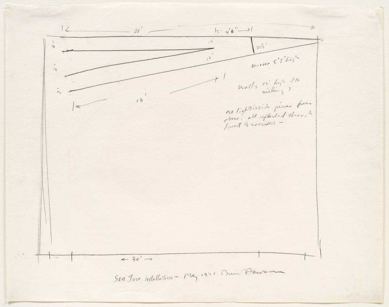 pencil drawing on paper of an installation plan with handwritten notes by the artist