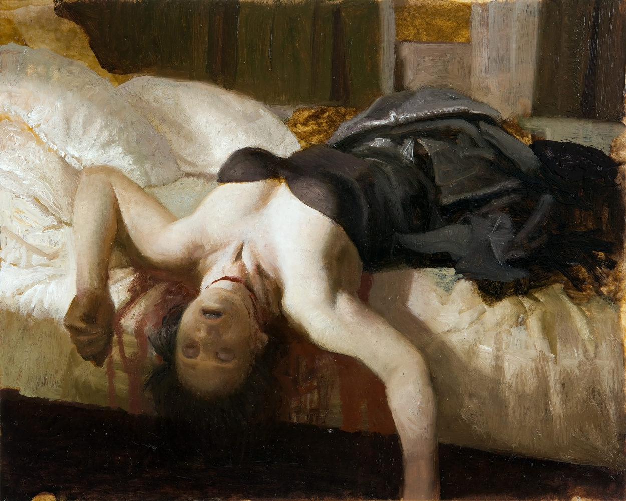 Oil painting of woman lying on edge of bed with throat slit.