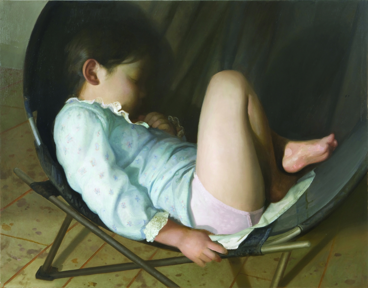 Oil painting of young child asleep in round chair.