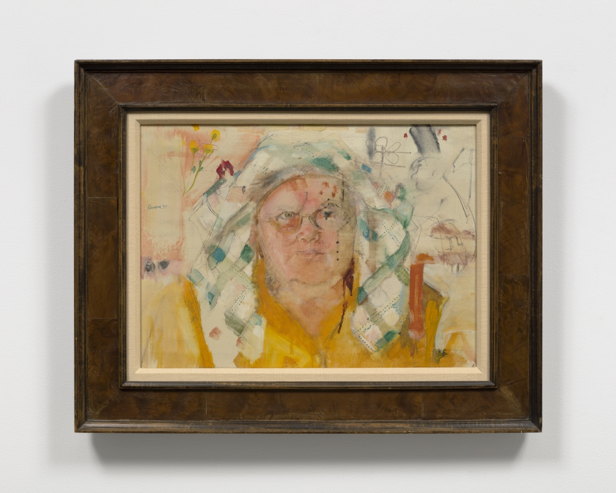 Framed oil on canvas work by Larry Rivers featuring the head of woman in a yellow shirt with a green checkered scarf around her head