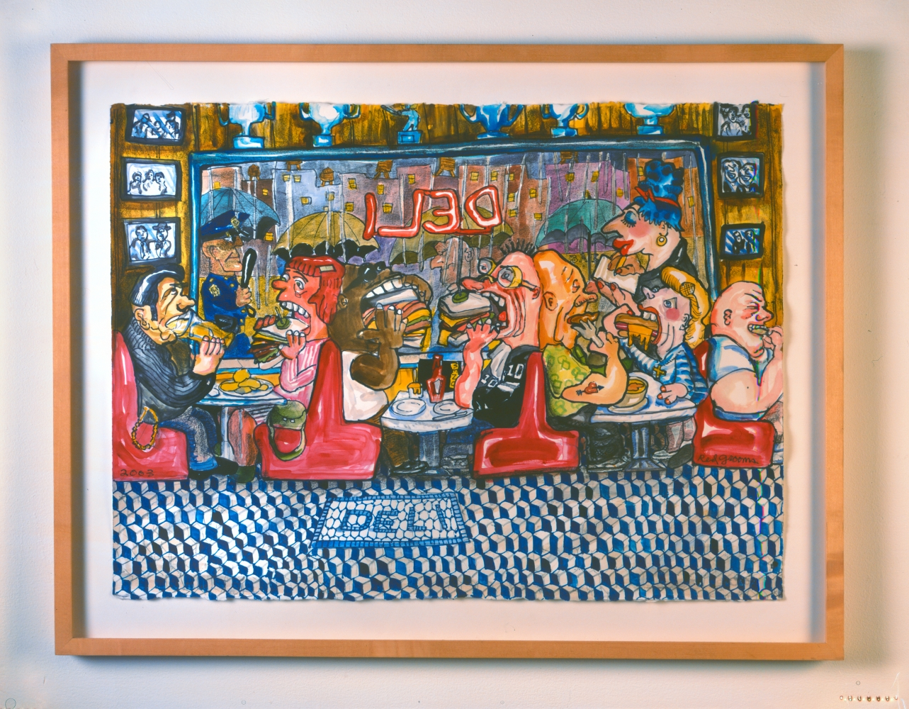 An artwork by Red Grooms depicting exaggerated depictions of customers eating sandwiches at a deli.