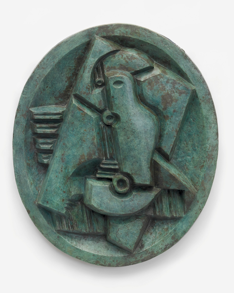 Bronze turquoise oval sculpture with abstract harlequin and Mandolin.