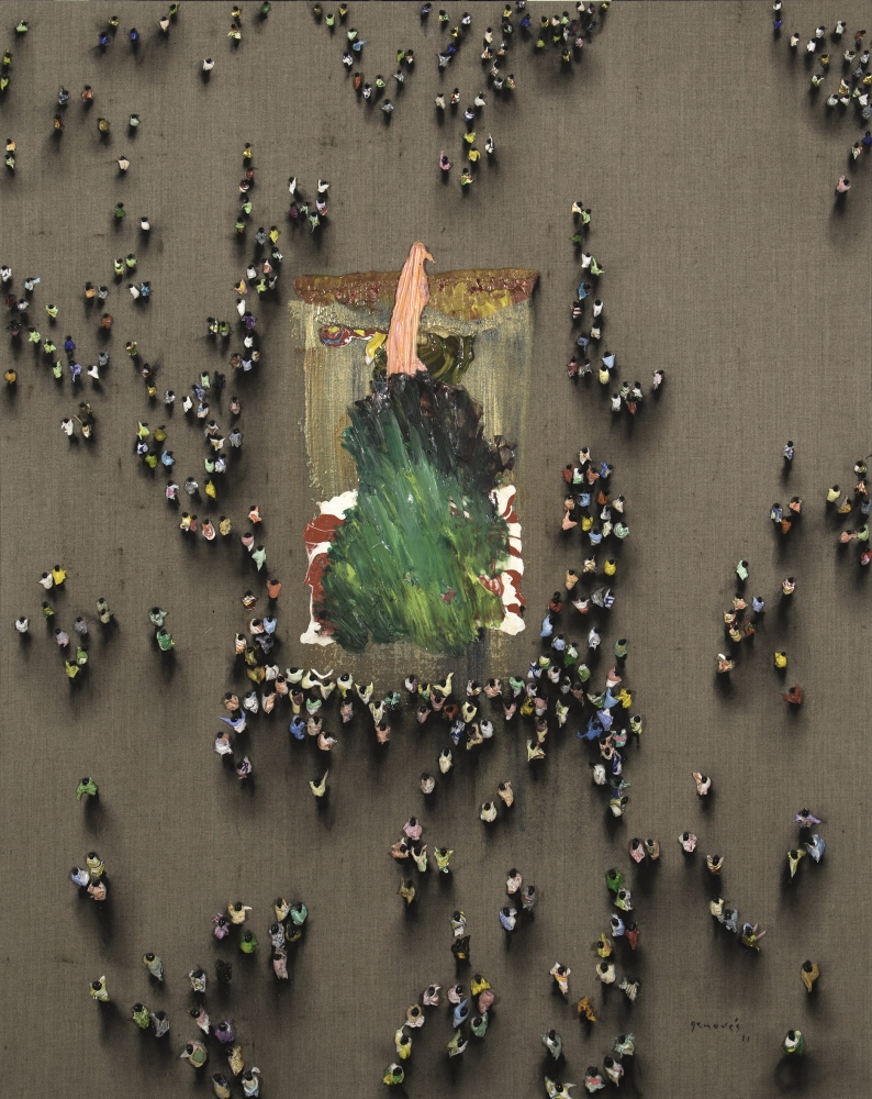 Aerial view of crowds of people hoarding around abstract art on ground by Juan Genovés.