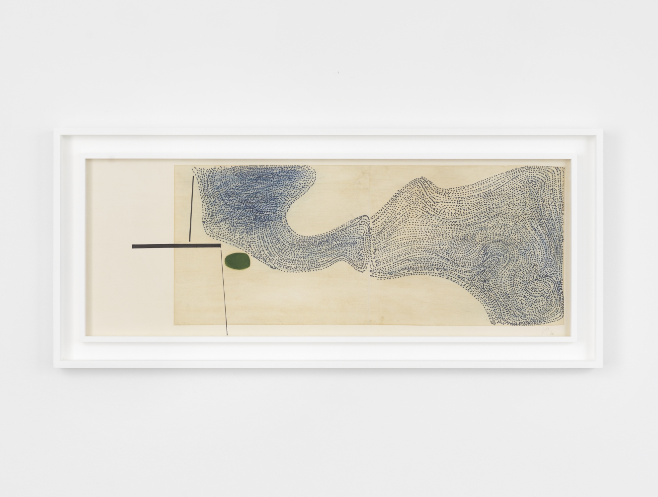 Framed oil and paper on canvas abstract work by Victor Pasmore featuring a large blue stippled segment near a large point and black lines