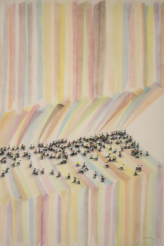 Crowds of people atop rainbow striped background by Juan Genovés.