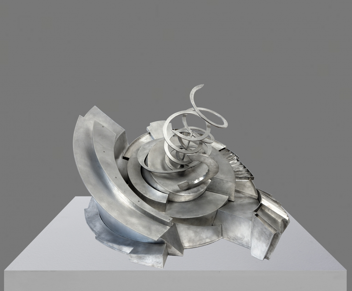Aluminum maze sculpture by Alice Aycock