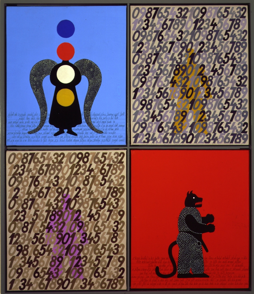 Four paneled painting of blue and red coloring with numbers and abstract animalistic figures.