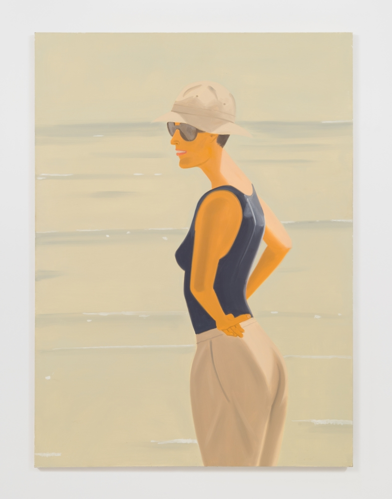 Oil on canvas painting by Alex Katz of a woman standing at the beach