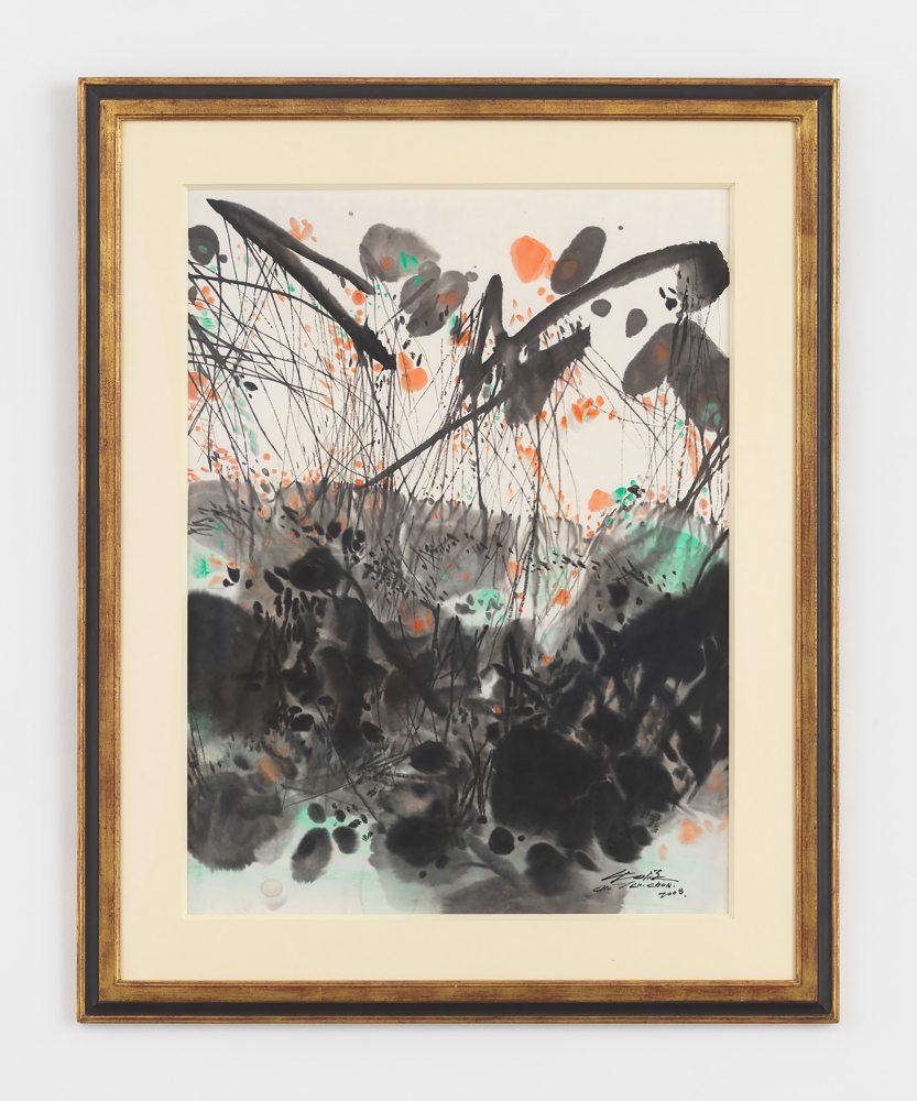 Framed ink and colored ink on paper work by Chu Teh-Chun featuring rhythmic splotches of black, teal, and orange