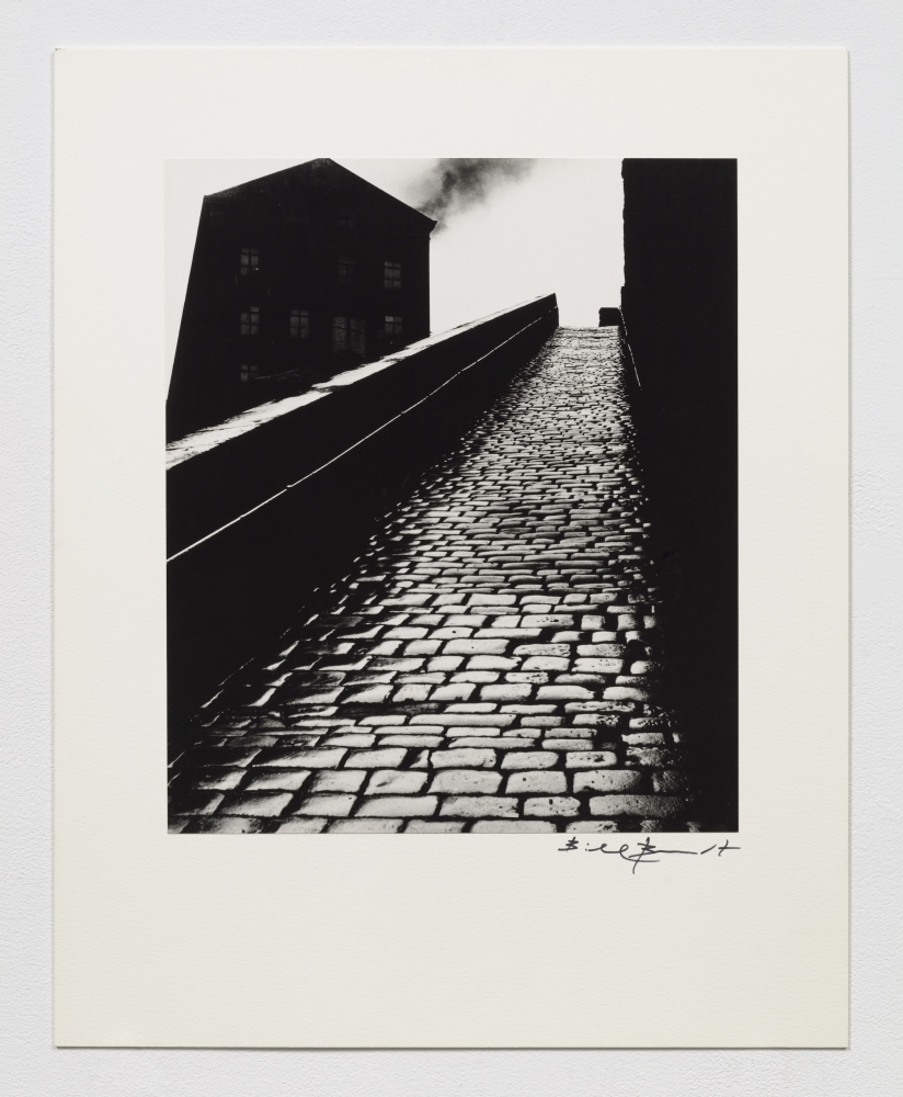 Black and white silver gelatin print of upward cobblestone hill with heavy contrasting shadows.