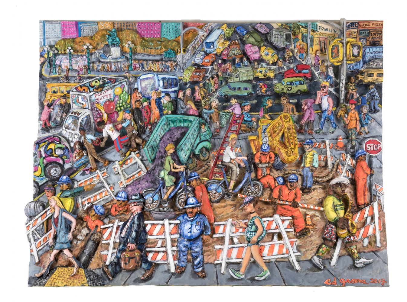 Colorful acrylic, ink, mixed media and epoxy mounted on wood work by Red Grooms featuring a bustling urban street scene with construction, people walking and car traffic