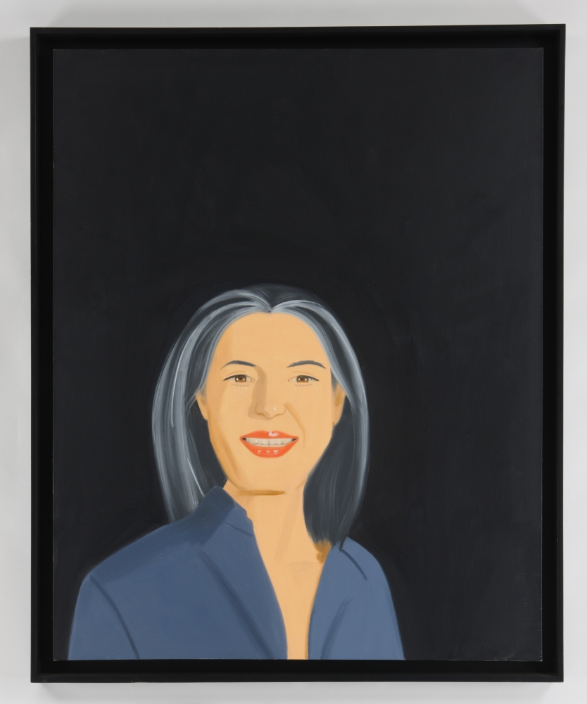 Oil on canvas painting by Alex Katz featuring a woman with gray hair against a black background