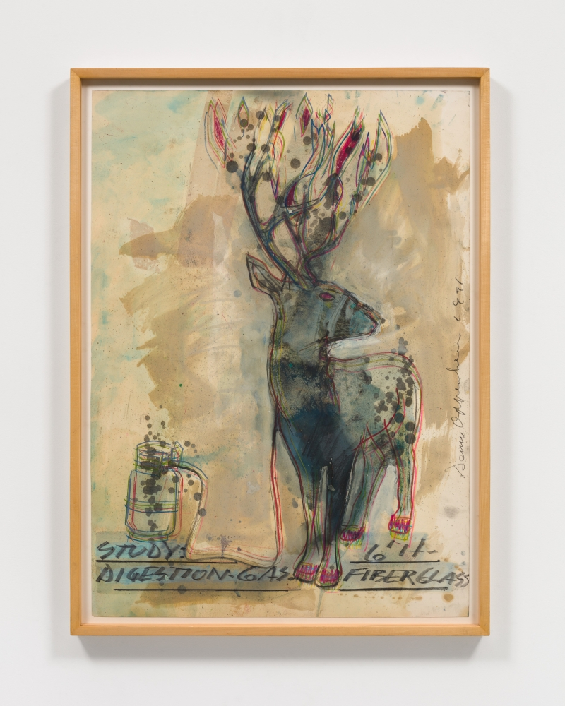 Dennis Oppenheim work sketching deer with blue and red hues.