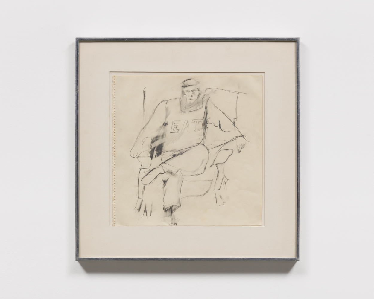 """Graphite drawing of a seated figure wearing a shirt in """"EAT"""" lettering"""
