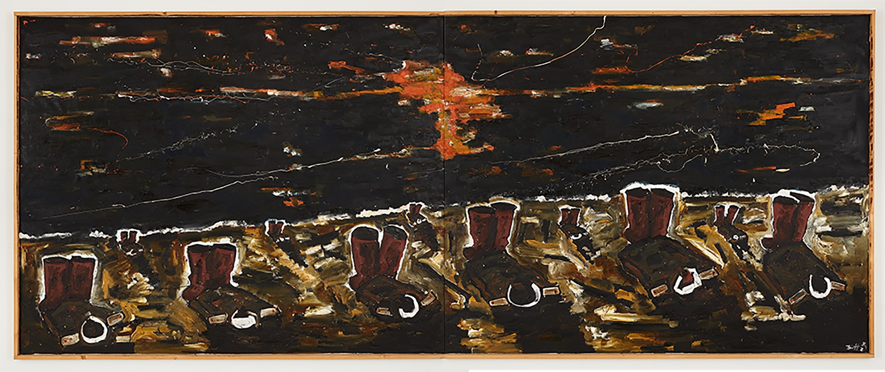 Horizontal oil on canvas painting by Werner Büttner featuring a row of six brown boots against a black and orange background
