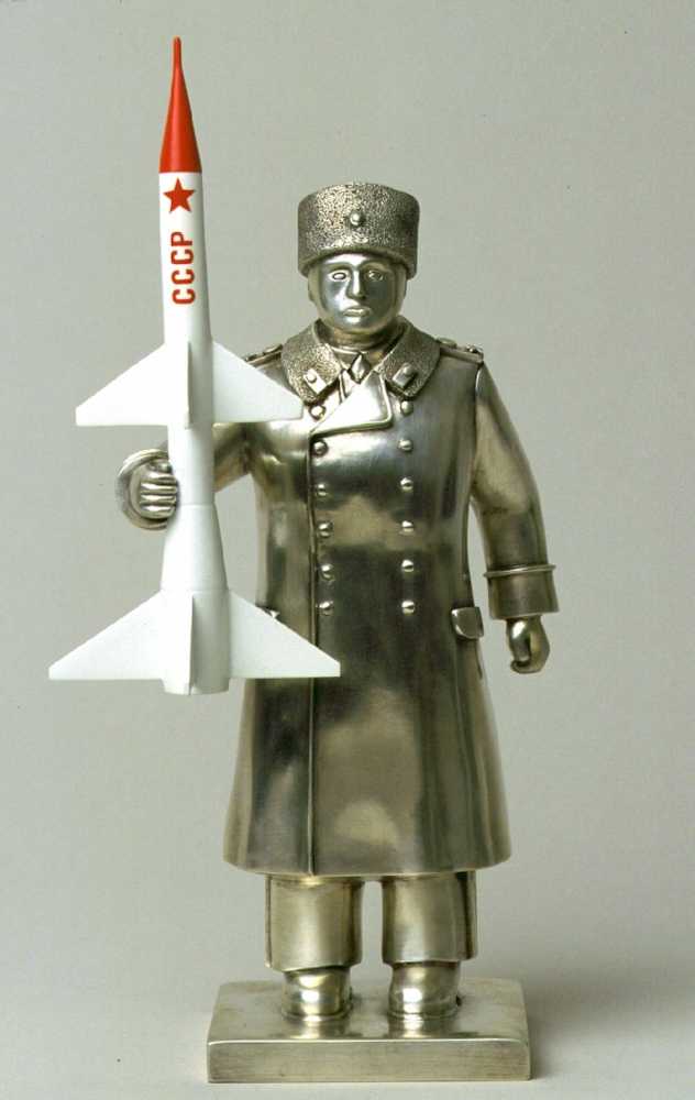 Stainless steel statue of an officer with a missile by Grisha Bruskin.