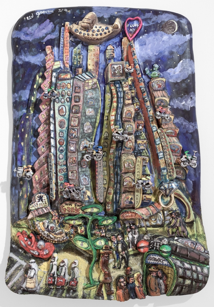 Acrylic, ink, mixed media and epoxy mounted on wood artwork by Red Grooms featuring a night scene on Canal Street with alien motifs and figures with bags spelling MOMA, a subway station, and figures riding motor bikes in the air