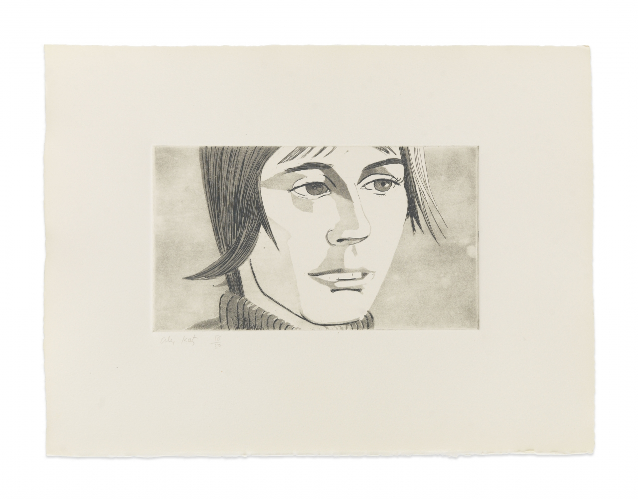 Aquatint by Alex Katz of portrait at 3/4 view with straight hair, mouth slightly open, and wearing a turtle neck against a tinted gray background