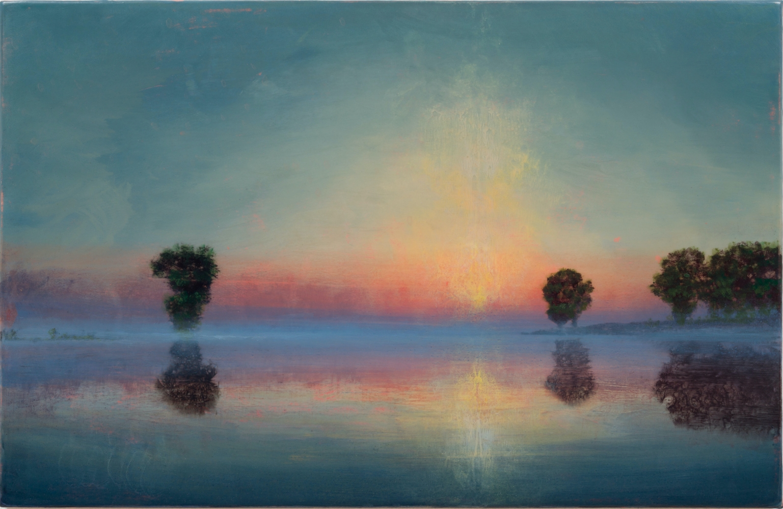 Landscape painting with reflection of sun on river by Stephen Hannock.