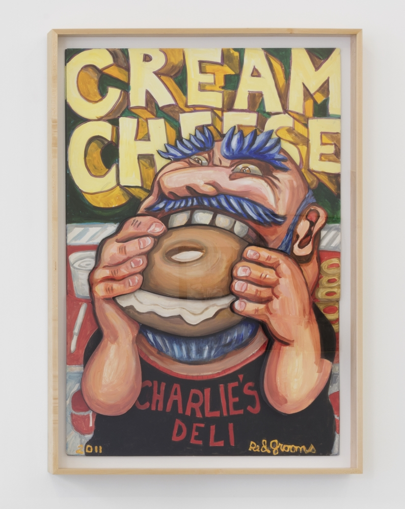 """Framed acrylic on board artwork by Red Grooms featuring a portrait of a man with blue hair and wearing a Charlie's Deli shirt, eating a cream cheese bagel against a background that spells """"Cream Cheese"""" in bold yellow lettering"""