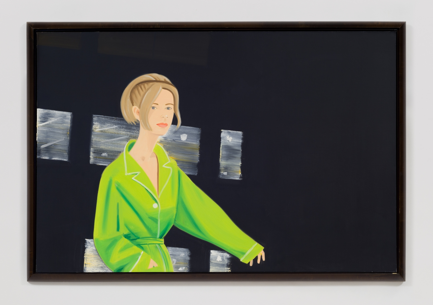 Oil on canvas painting by Alex Katz featuring a woman in a green jacket against a black background