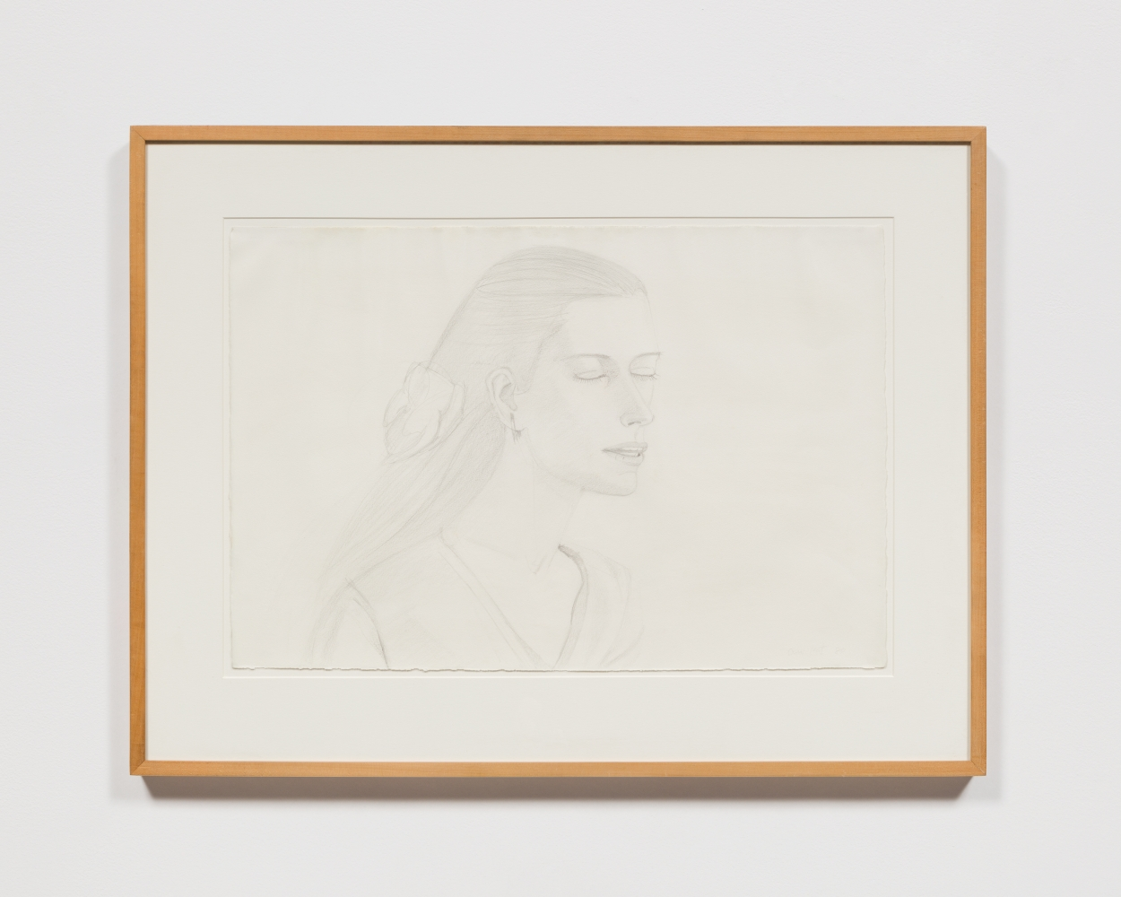 Framed pencil drawing by Alex Katz featuring the side-view of a woman with her eyes closed