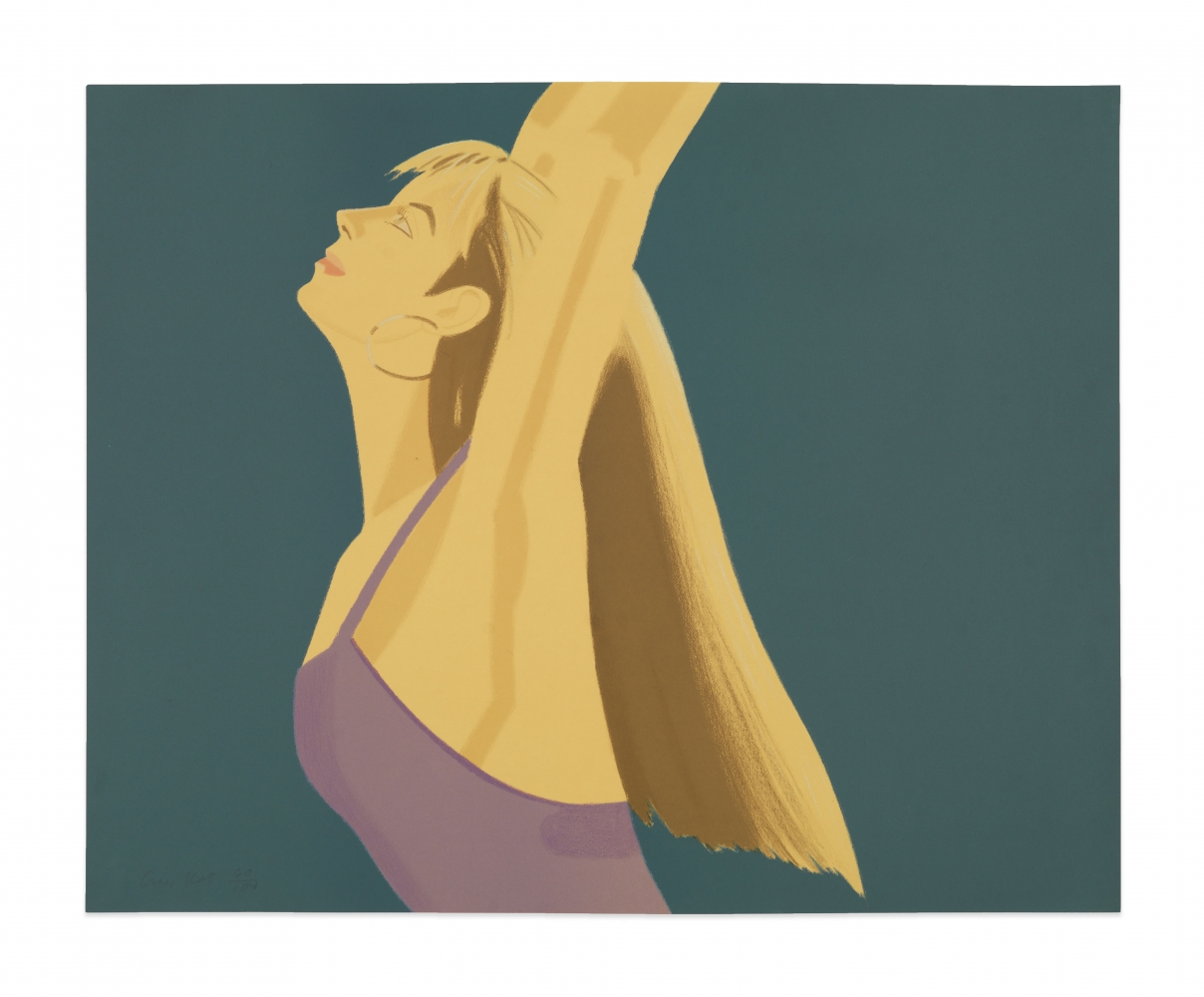 Color lithograph by Alex Katz featuring the profile of a woman wearing a lavender top and gold hoop earrings looking upward. The side-view of her arms are stretched out above her head against a blue background