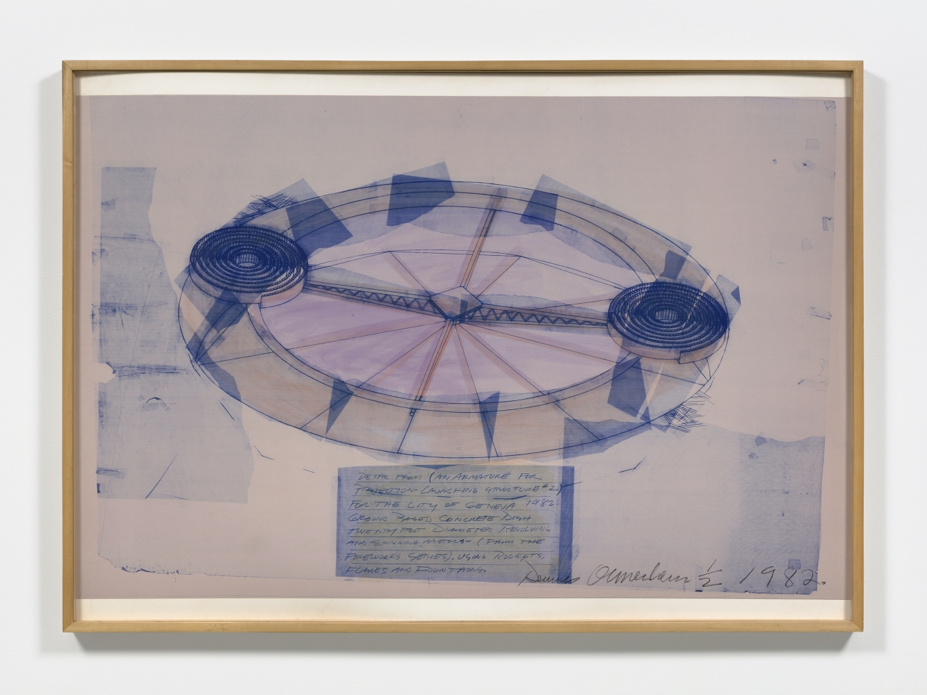 Blue tinted line print on linen depicting circular rotating launching structure by Dennis Oppenheim.