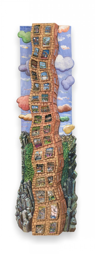 Narrow and vertical acrylic, ink, mixed media and epoxy mounted on wood piece by Red Grooms of a curvy apartment building filling the length of the work with different scenes in each window and multi-colored clouds against a blue sky over a bird's-eye view buildings and park space