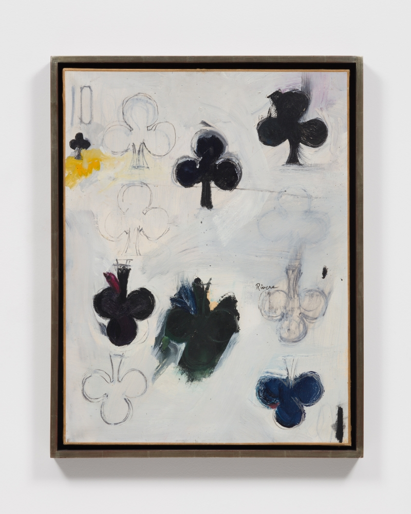 Framed oil and pencil on paper work by Larry Rivers featuring a ten of clubs card with spots of blue, green, and yellow paint