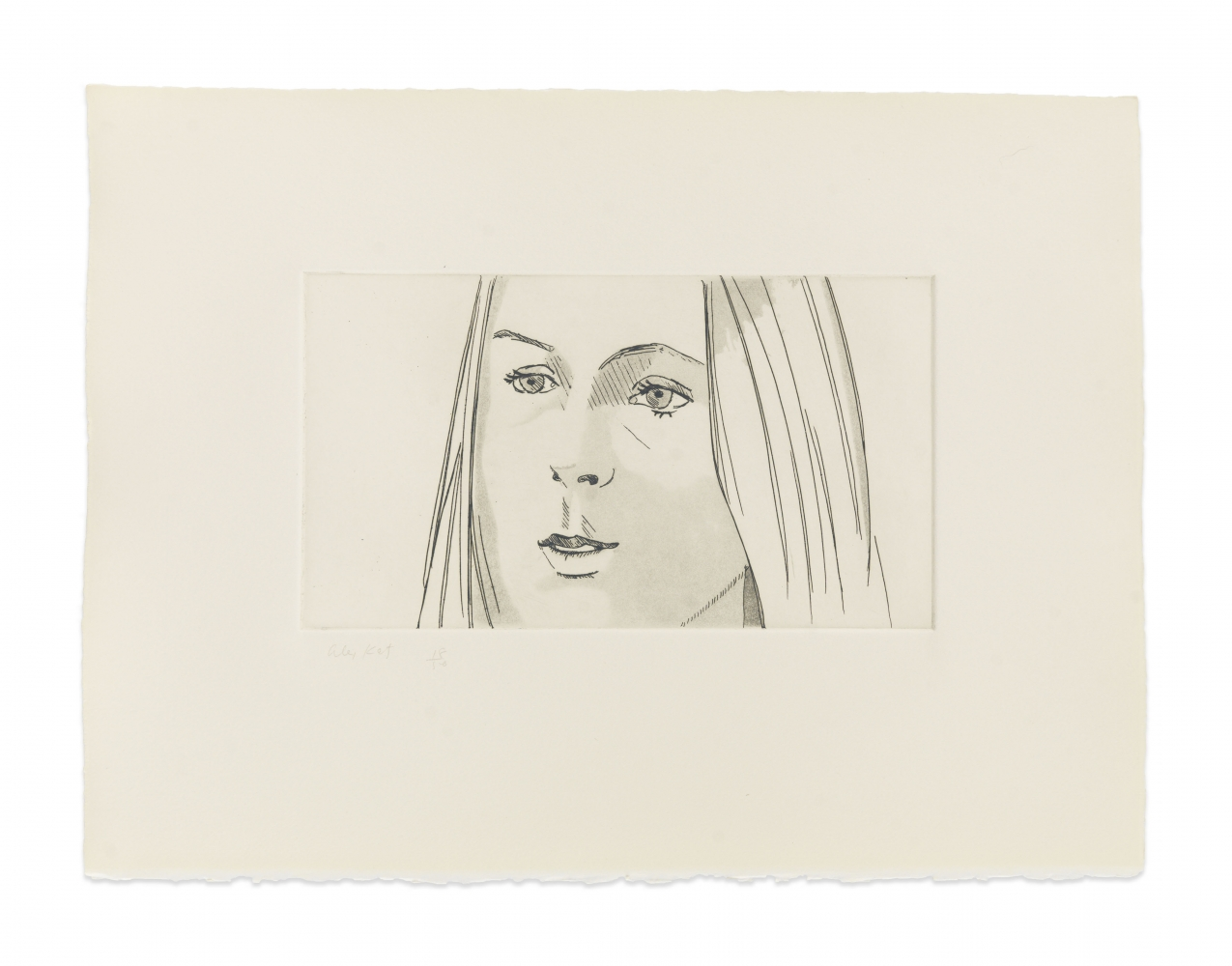 Aquatint by Alex Katz a portrait of a woman with her lips slightly pursed