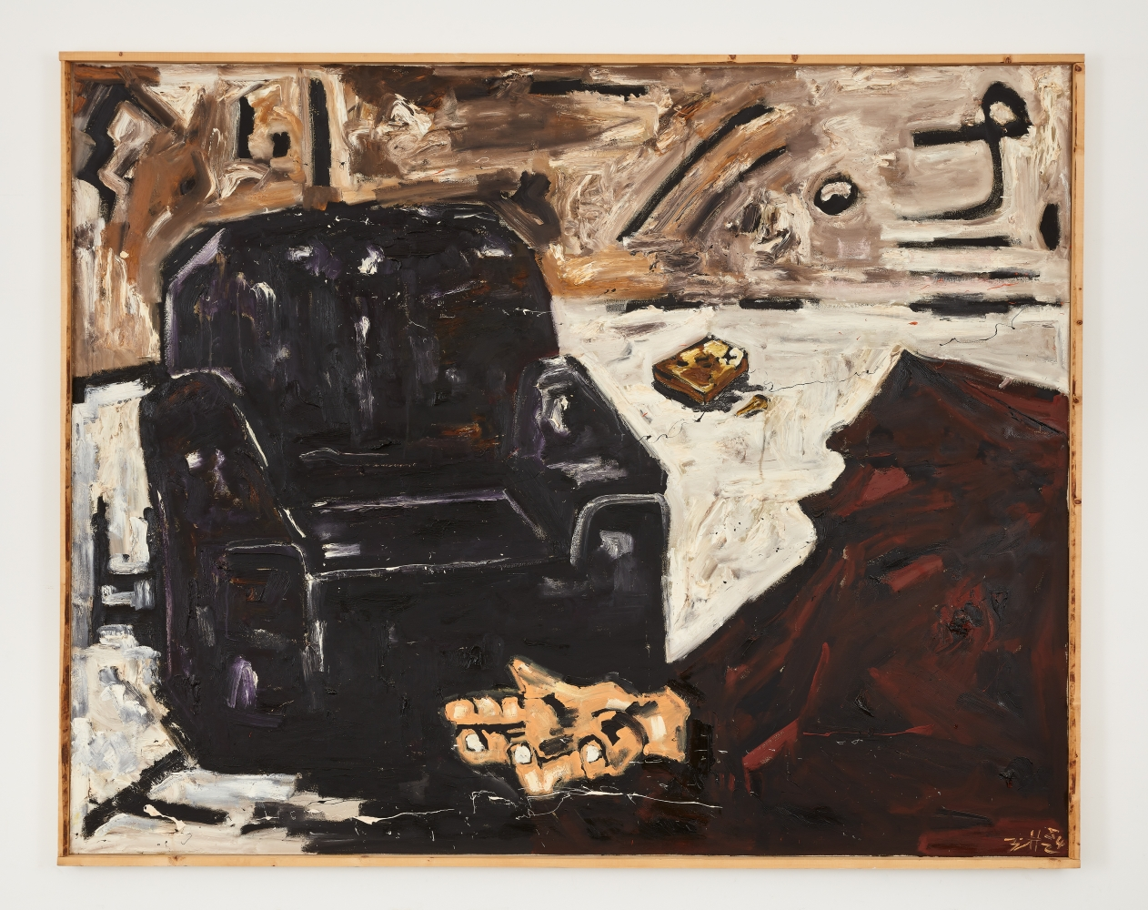 Oil on canvas work by Werner Büttner featuring a black armchair and a hand