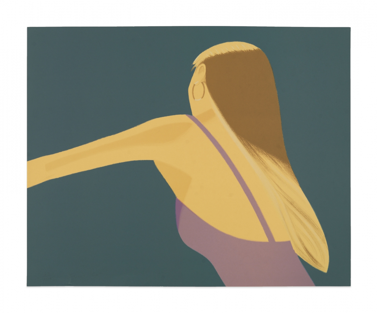 Color lithograph by Alex Katz featuring the back of a woman dancing with one arm stretched out wearing a lavender top and gold hoop earrings against a blue background