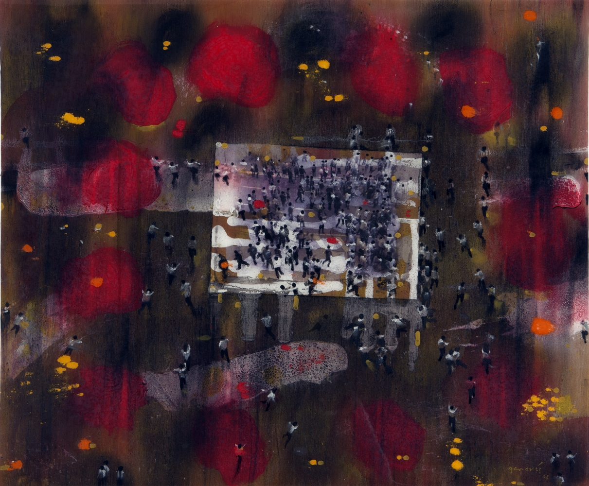 Abstract painting of red and black coloring overlaying image of large crowds of people by Juan Genovés.