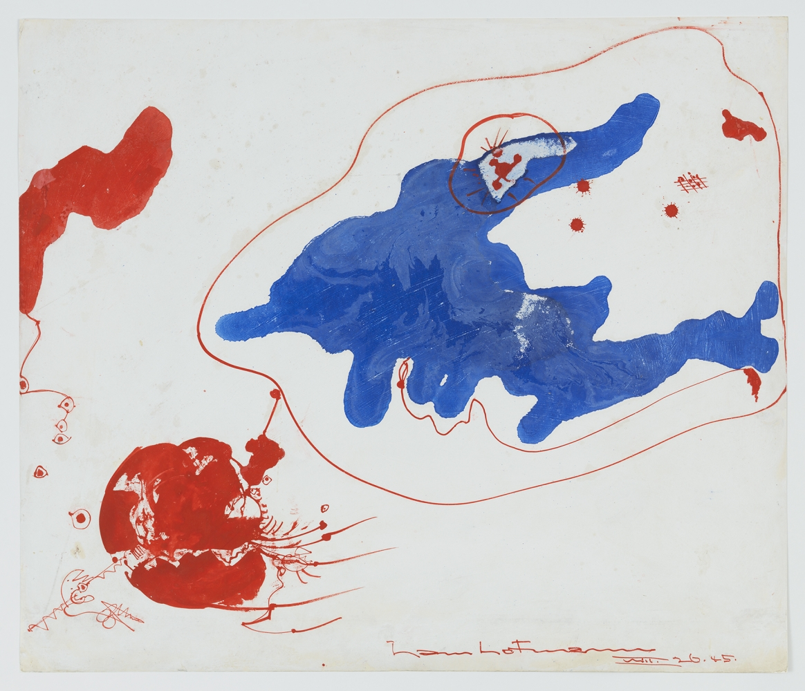 HANS HOFMANN Blue, Red Composition, 1945 Mixed media on board, 21 1/2 x 25 1/2 inches, 54.6 x 64.8 cm Signed and dated (lower right recto) (MMG#2345)