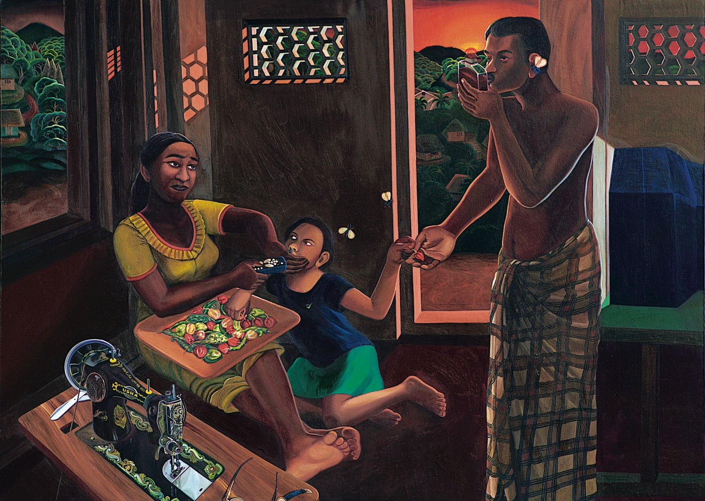 RATHEESH T., Family (Hill 2), 2006, oil on canvas, 153 x 215 cm / 60 x 84.6 in