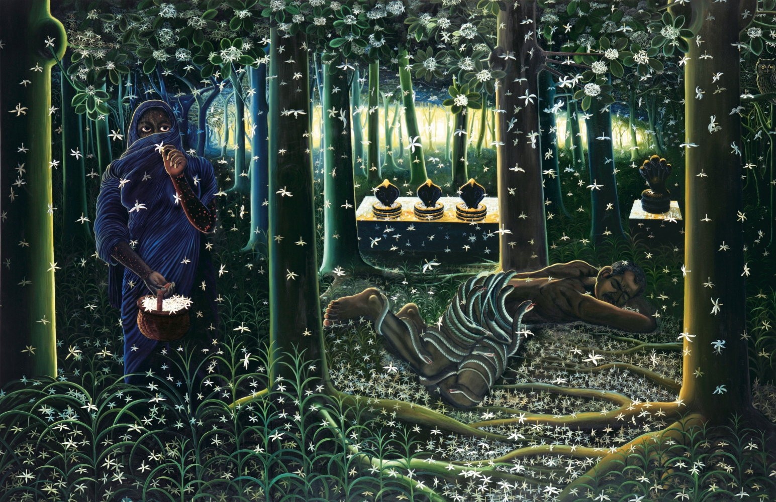 RATHEESH T., Thicket (A Dream), 2007, oil on canvas, 199 x 304 cm / 78.3 x 119.6 in